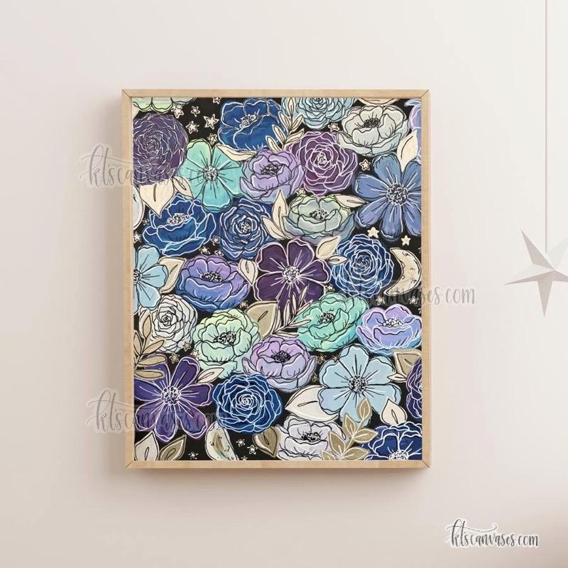 Galaxy Outlined Florals Art Print