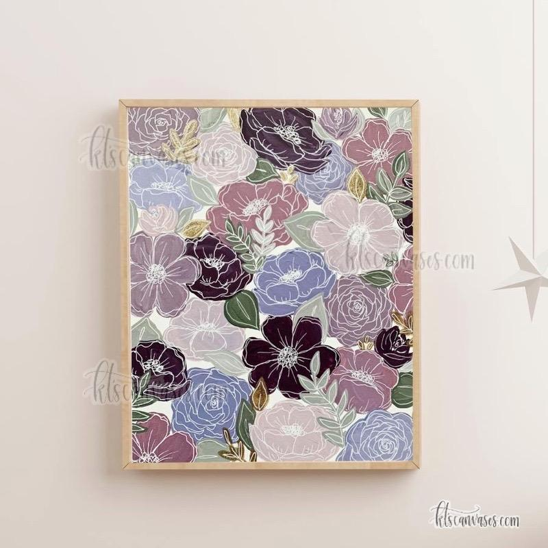 Purple Painted Florals Art Print