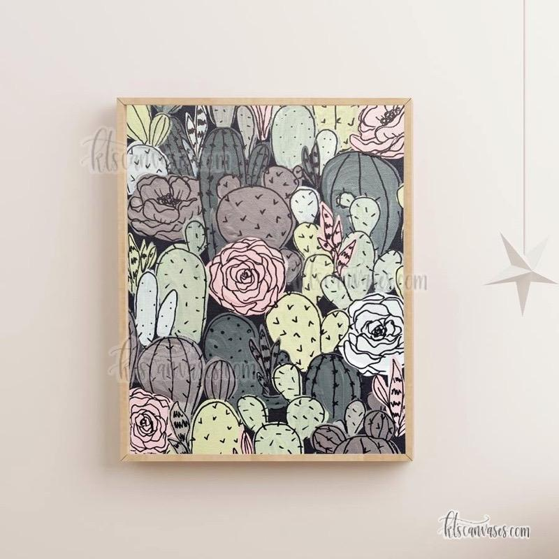 Black Outlined Cactus Florals Art Print