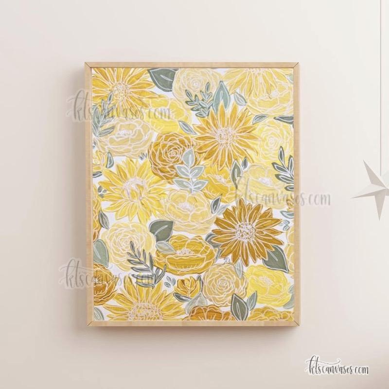 White Outlined Yellow Painted Florals Art Print