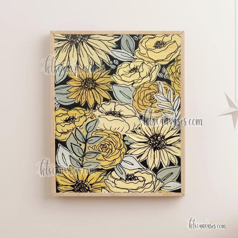 Black Outlined Yellow Painted Florals Art Print