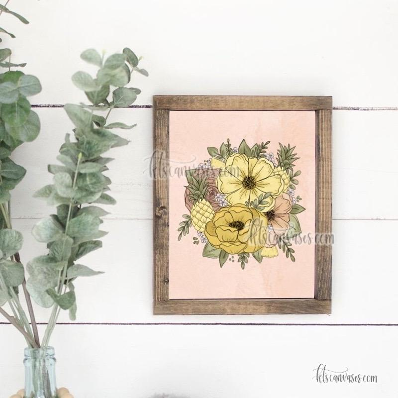 Pineapple Outlined Florals Art Print