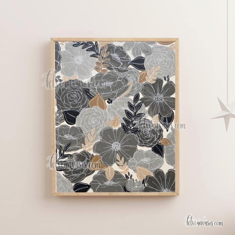 Gray Neutrals Painted Florals Art Print