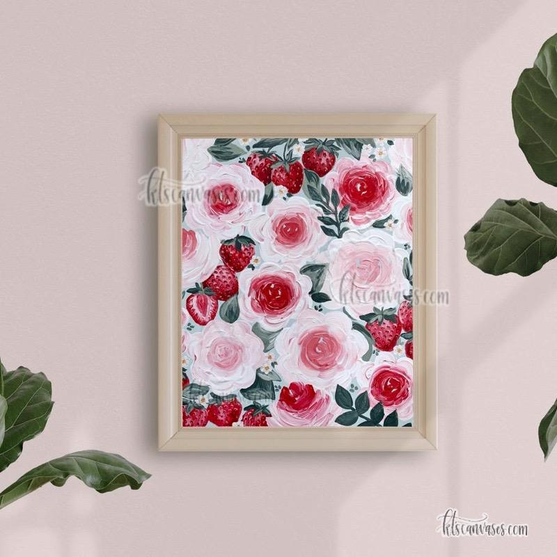 Strawberries + Florals Art Print