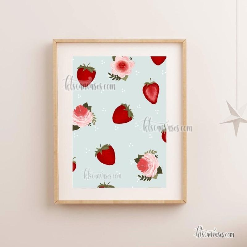 Floral Strawberry Art Print