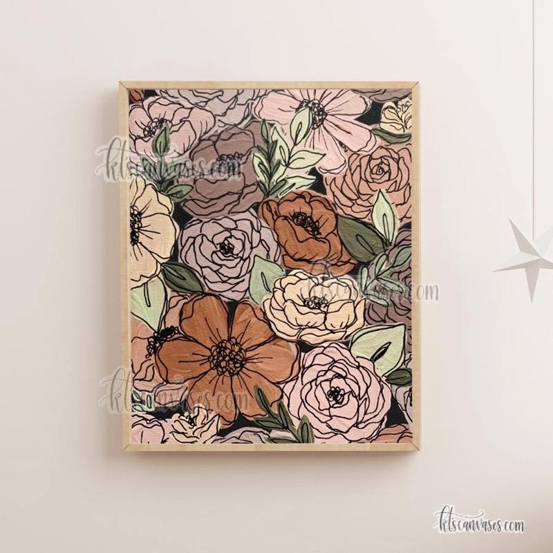 Black Outlined Garden Florals Art Print