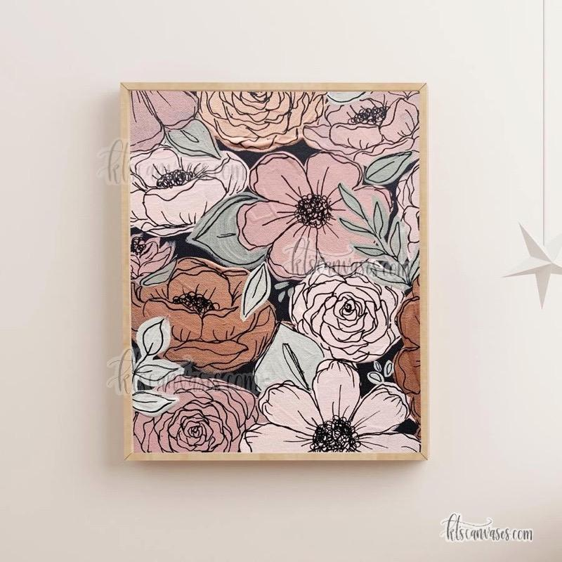 Pink Painted Florals Art Print