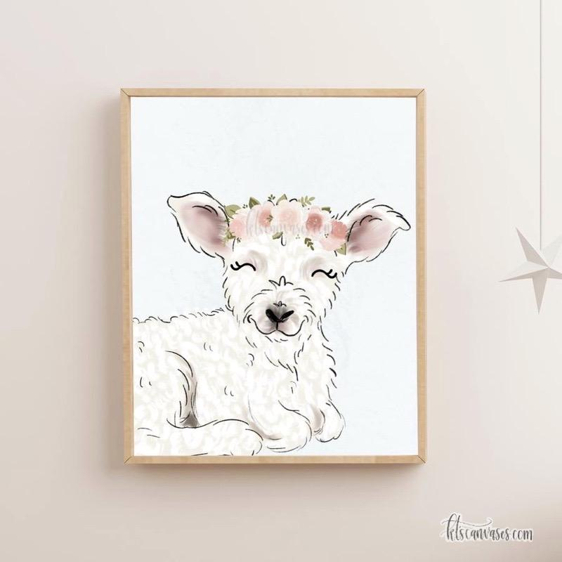 Floral Crown Lamb Art Print