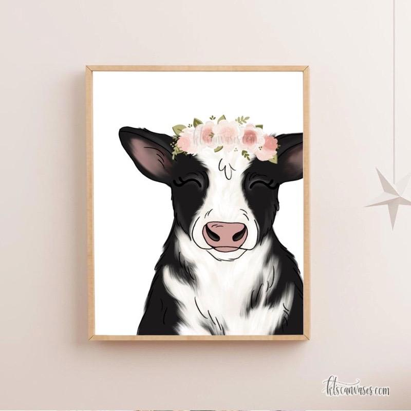 Floral Crown Cow Art Print