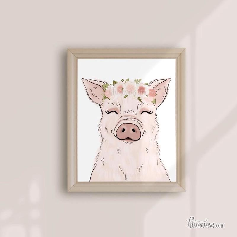 Floral Crown Pig Art Print