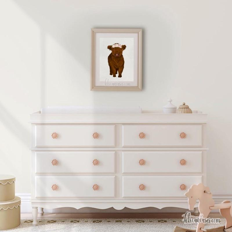 Baby Highland Cow Art Print