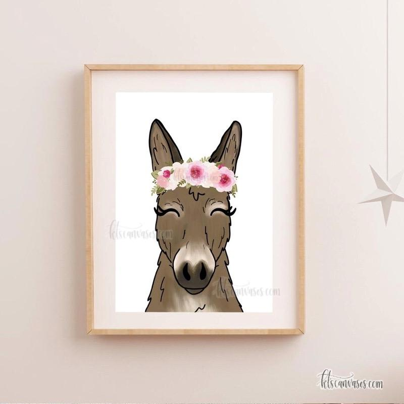 Floral Crown Donkey Art Print