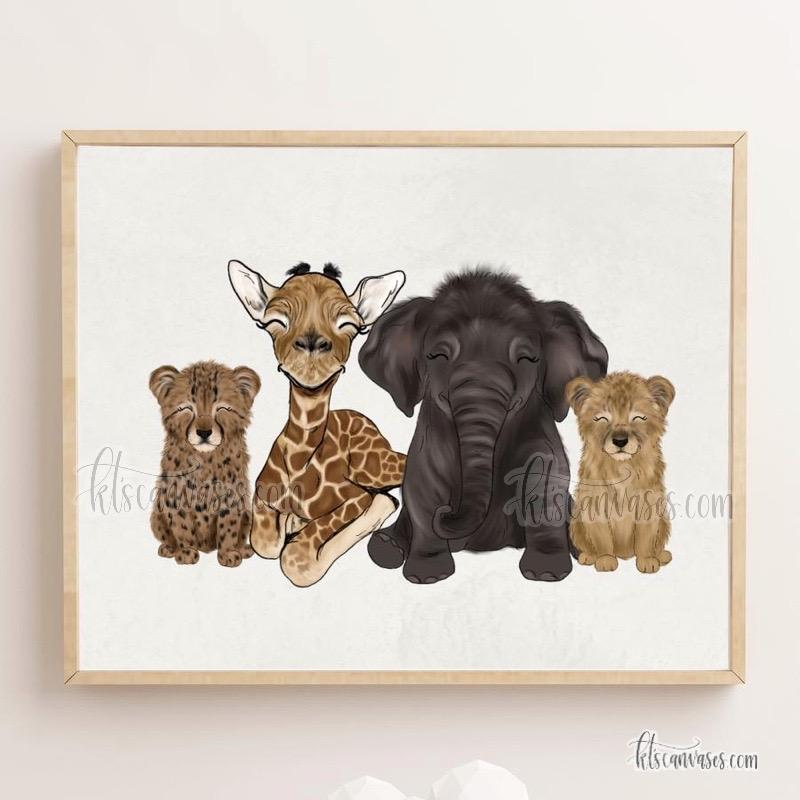 Safari Babies Art Print