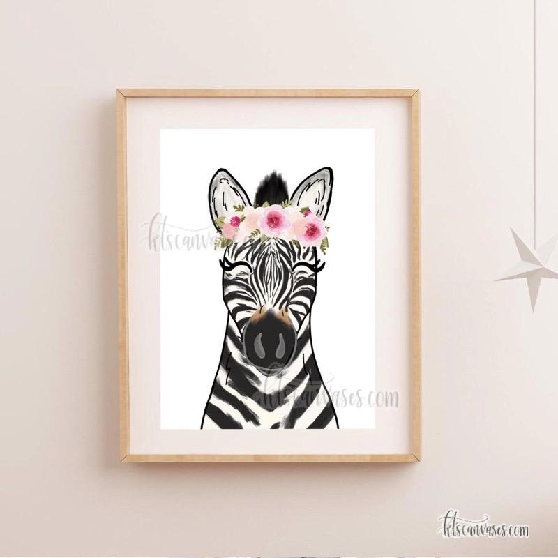 Floral Crown Zebra Art Print