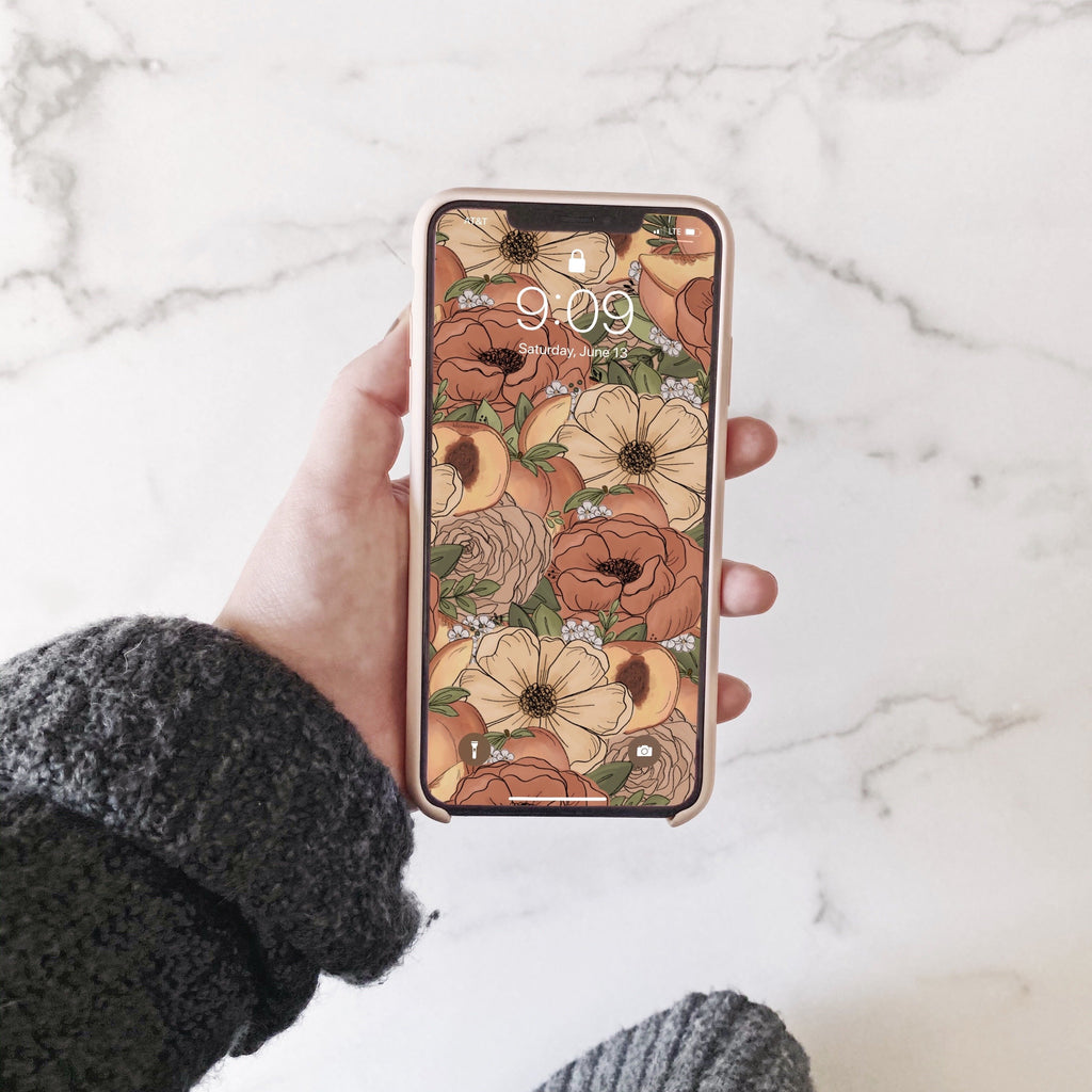 Lots of Peach Florals Phone Wallpaper (Digital Download)