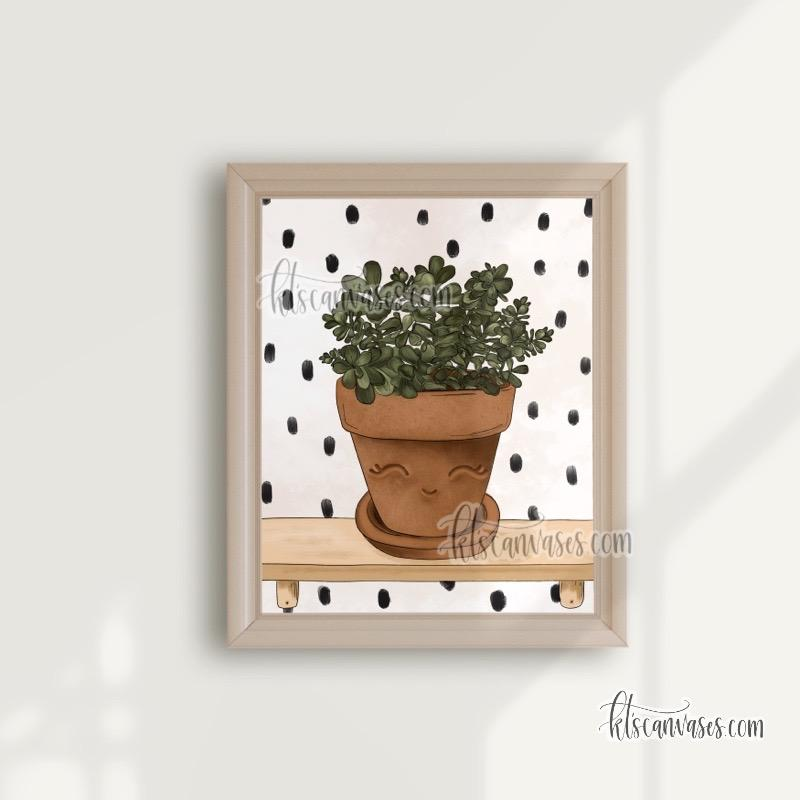 Happy Jade Plant Art Print