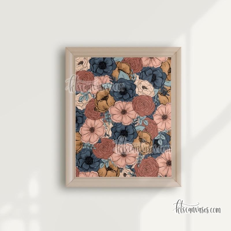 Peachy Teal Florals Art Print