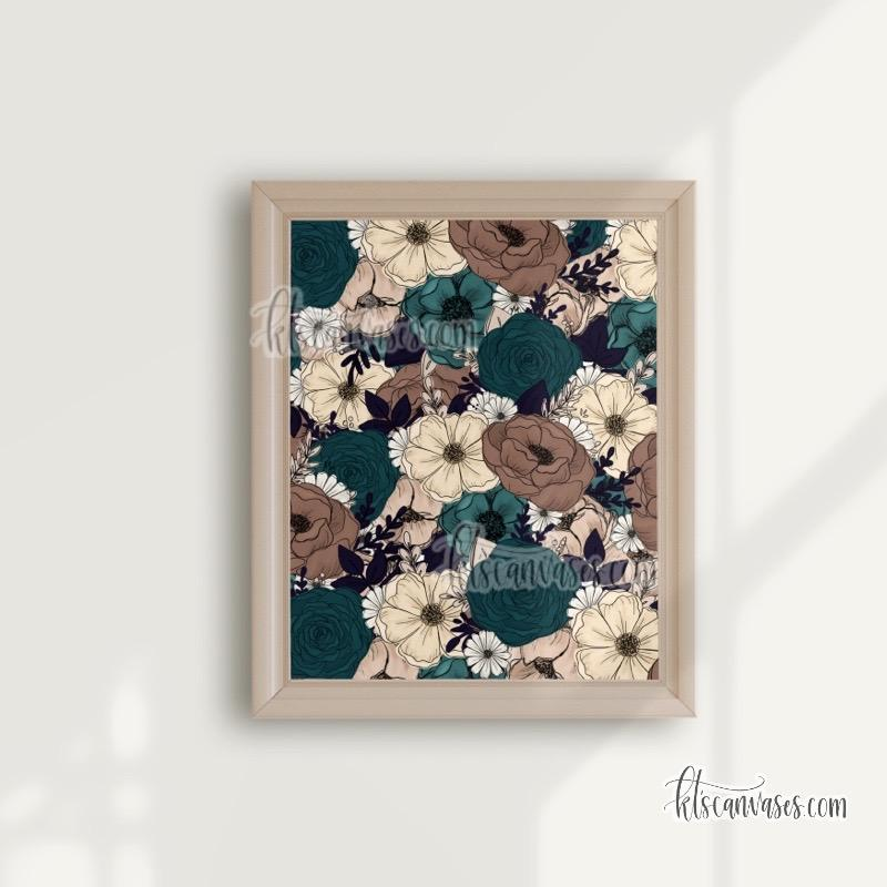 Teal + Tan Florals Art Print