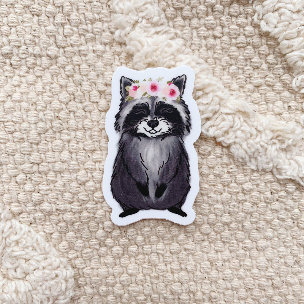 Mini Floral Crown Raccoon Sticker