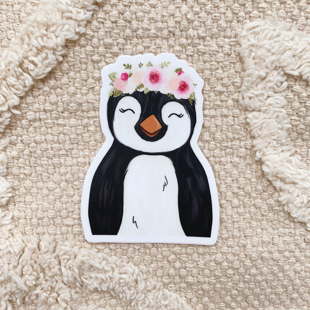 Floral Crown Penguin Sticker
