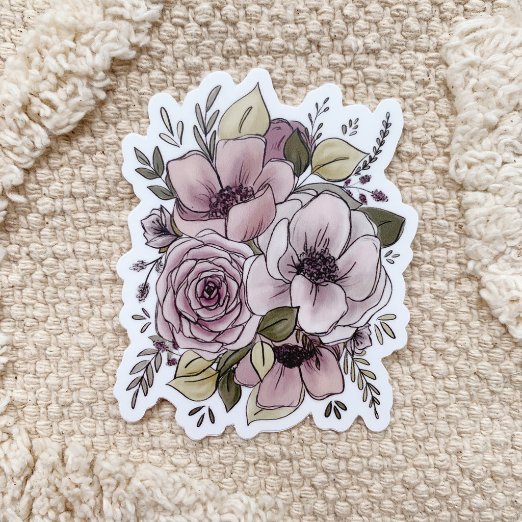 Purple Florals Sticker