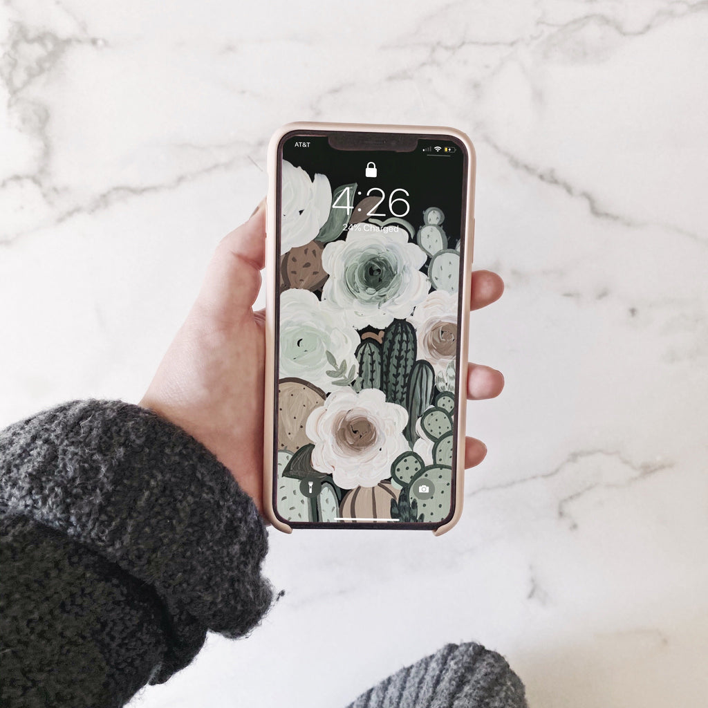 Muted Cactus Florals Phone Wallpaper (Digital Download)