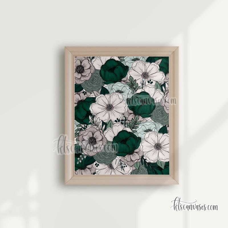 Green + Gray Florals Art Print