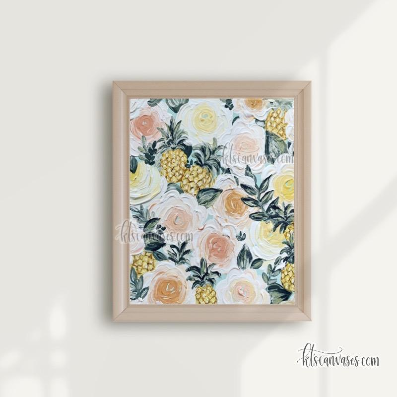 Pineapple Painted Florals Art Print