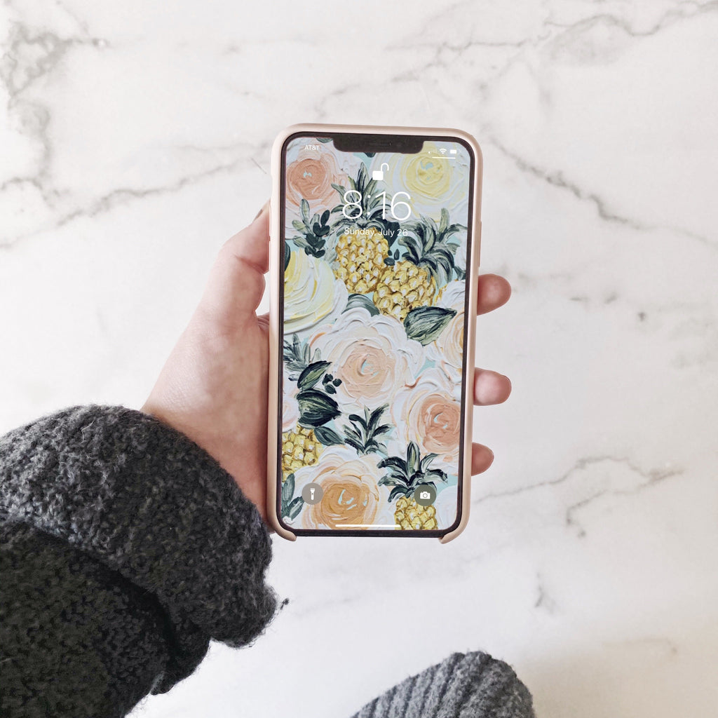 Pineapple Painted Florals Phone Wallpaper (Digital Download)