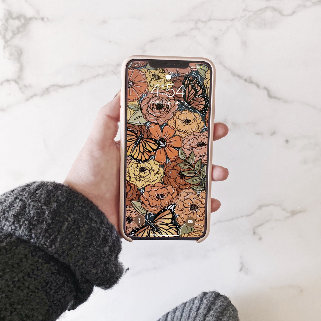 Colorful Butterfly Florals Phone Wallpaper (Digital Download)