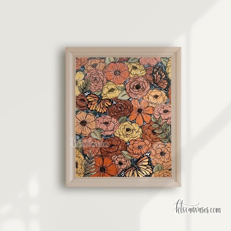 Colorful Butterfly Florals Art Print