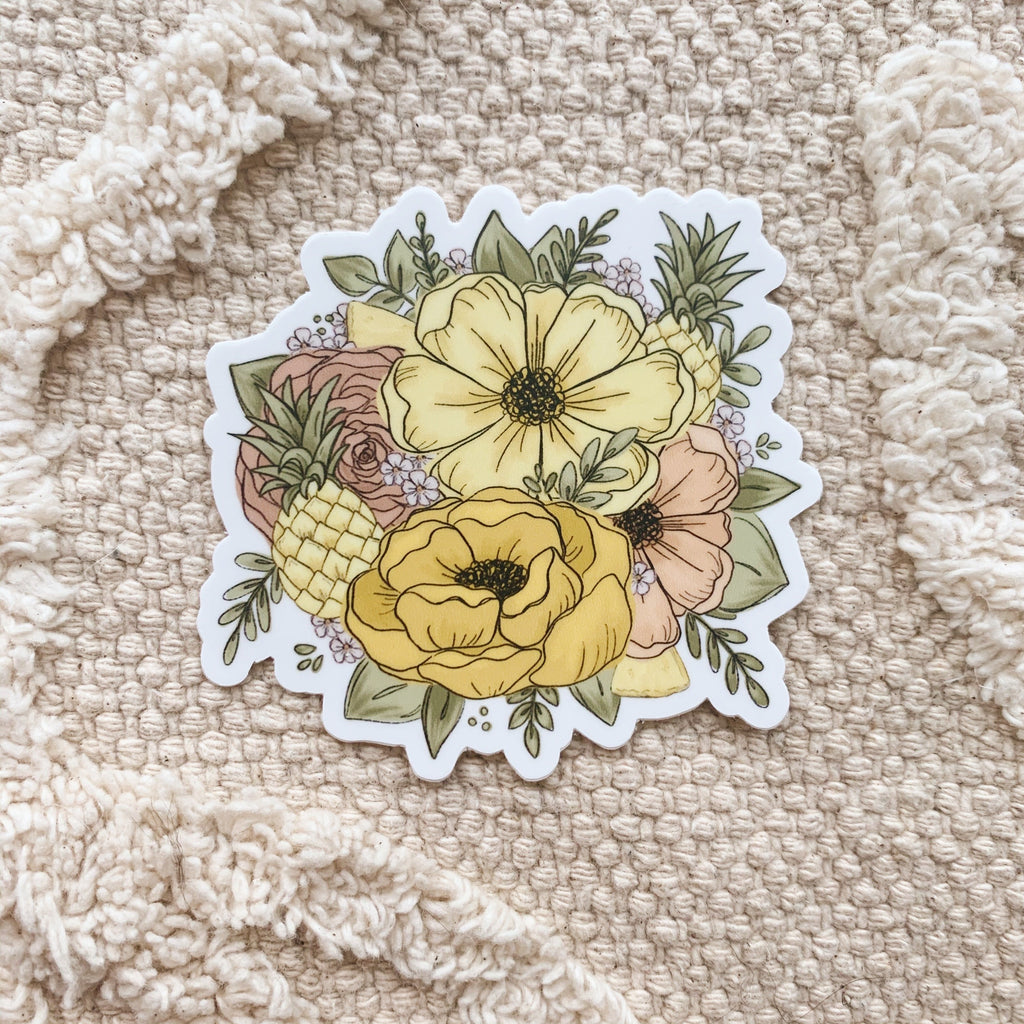 Pineapple Floral Sticker