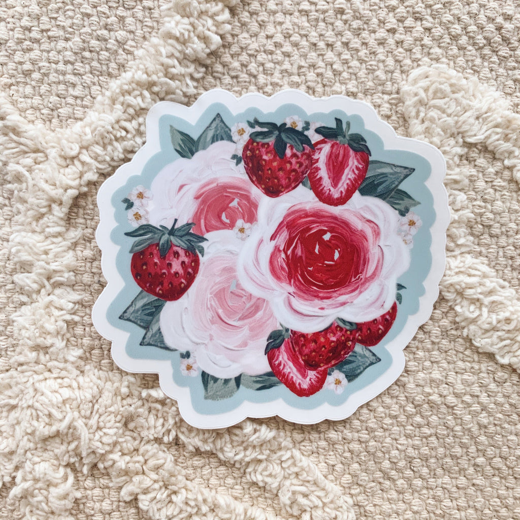 Strawberry Florals Clear Sticker