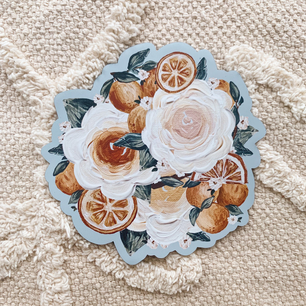 Large Orange Florals Magnet