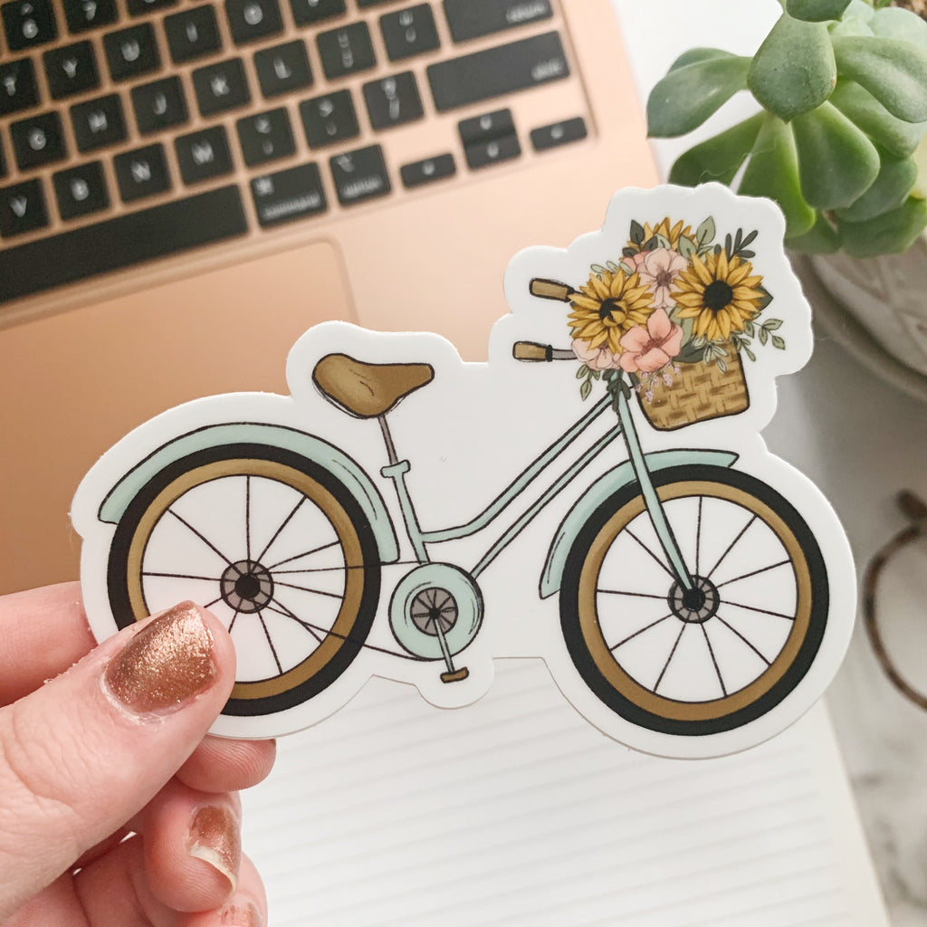 Floral Basket Bicycle Sticker