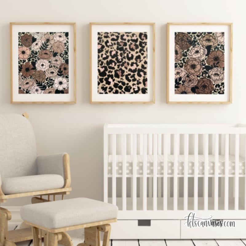 Cheetah Florals Art Print Set of 3