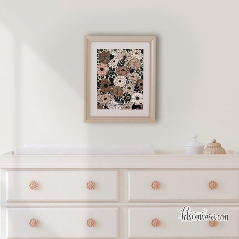 Cheetah Florals Art Print