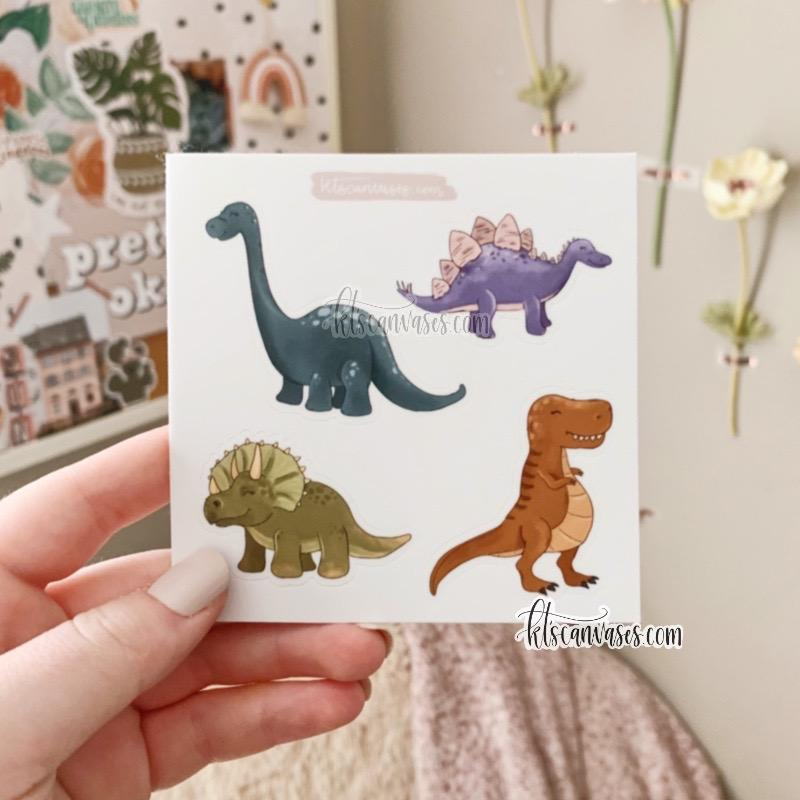 Dinosaur Set of 4 Mini Stickers (1 sheet)