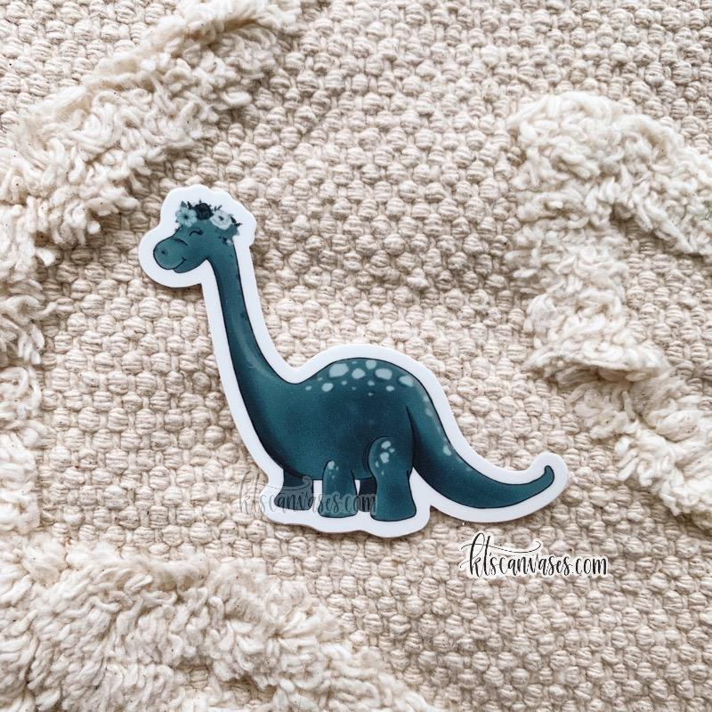Floral Crown Brontosaurus Sticker