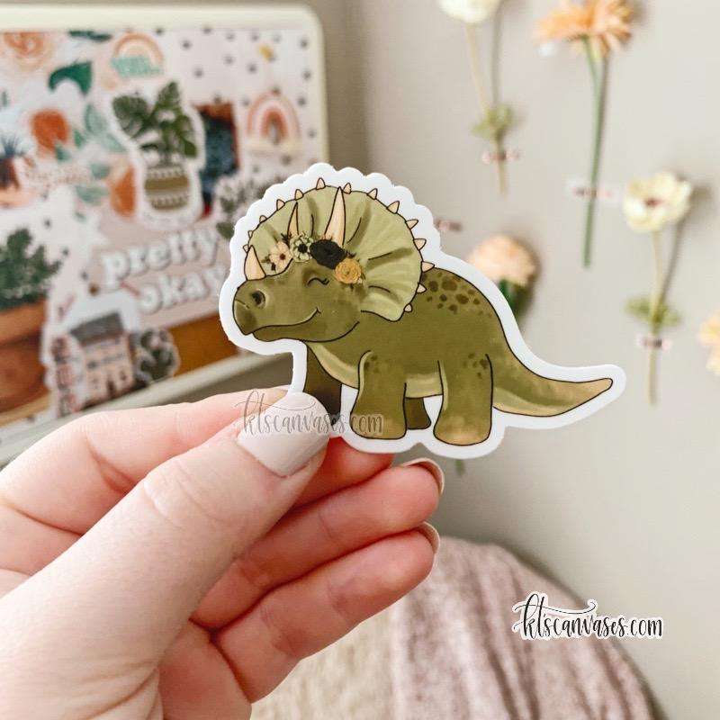 Floral Crown Triceratops Sticker