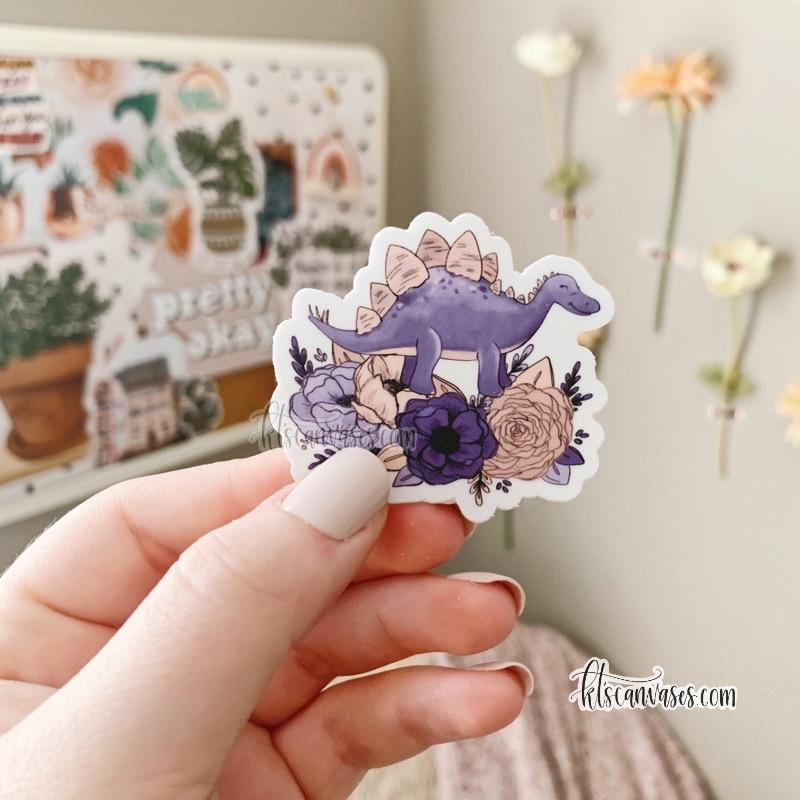 Mini Stegosaurus Florals Sticker