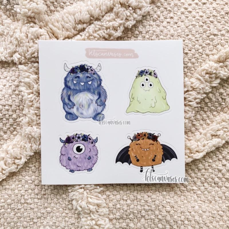 Monster Friends Set of 4 Mini Stickers (1 sheet)