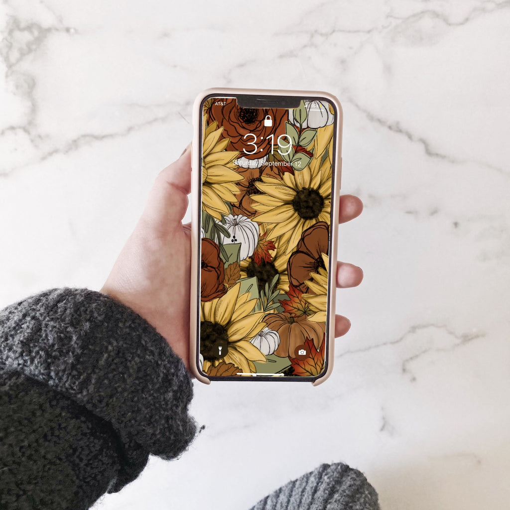 Fall Sunflower Florals Phone Wallpaper (Digital Download)