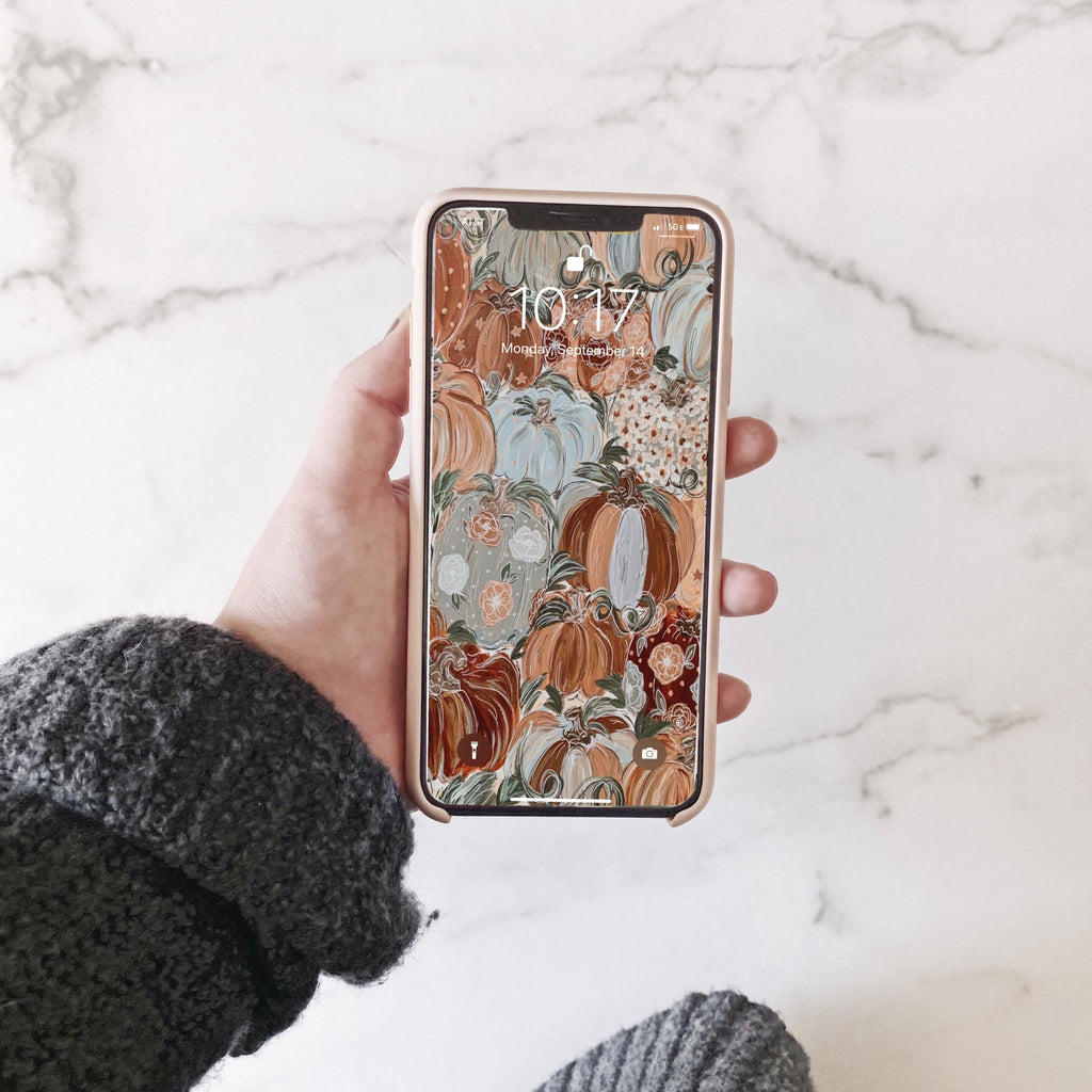 Pattern Pumpkin Florals Phone Wallpaper (Digital Download)