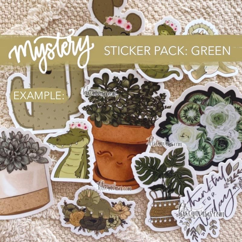 Mystery Sticker Pack: Green Stickers (30% off discount included)