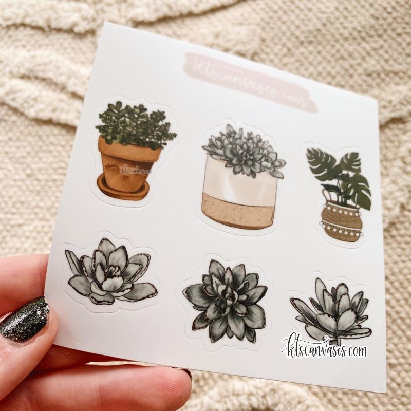 Plants Set of 6 Mini Stickers (1 sheet)