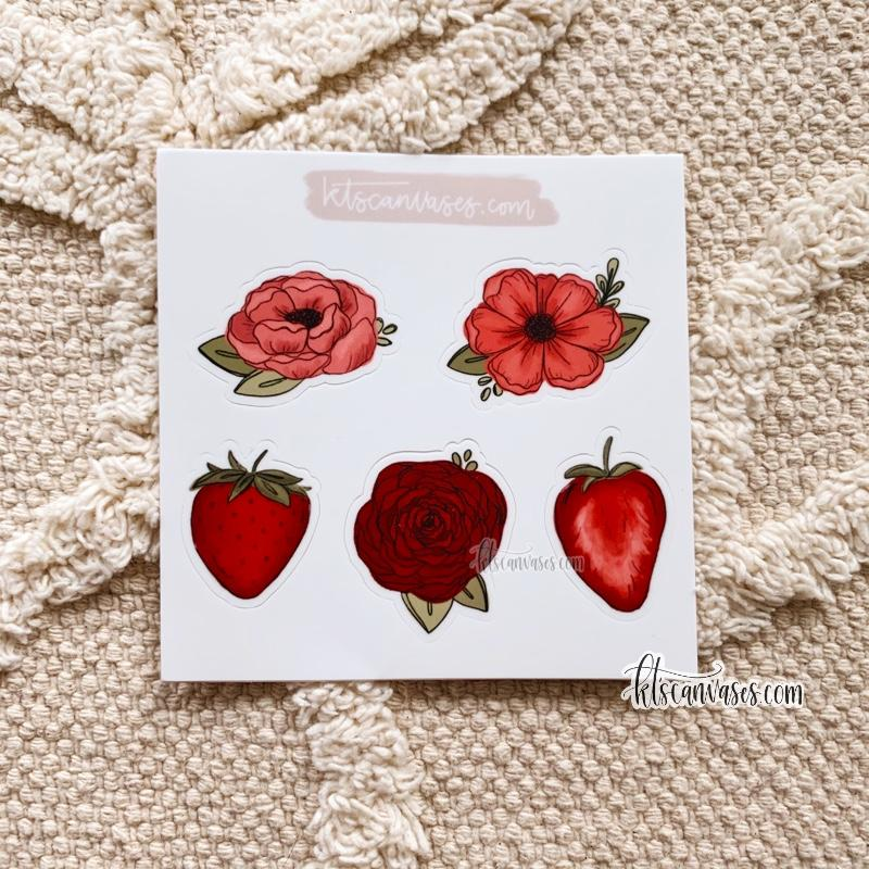 Strawberry Florals Set of 5 Mini Stickers (1 sheet)