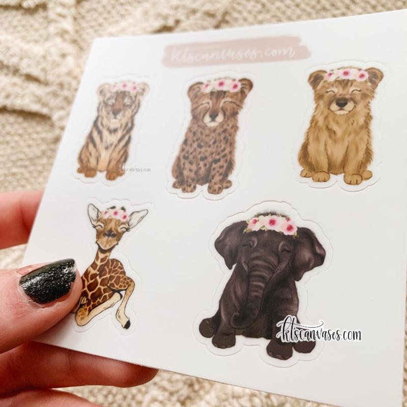 Safari Baby Animals Set of 5 Mini Stickers (1 sheet)