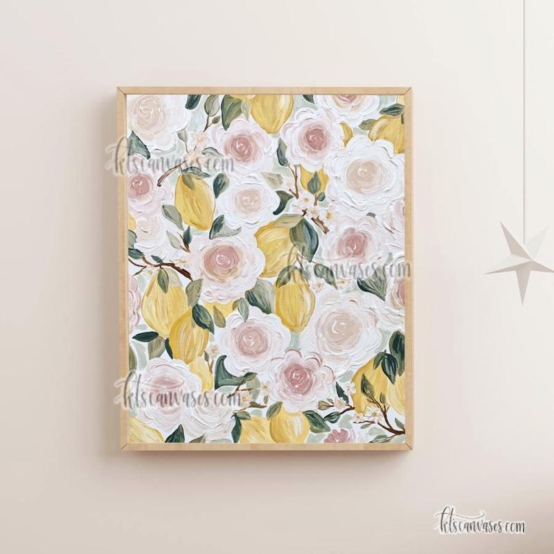 Lemon Florals Art Print