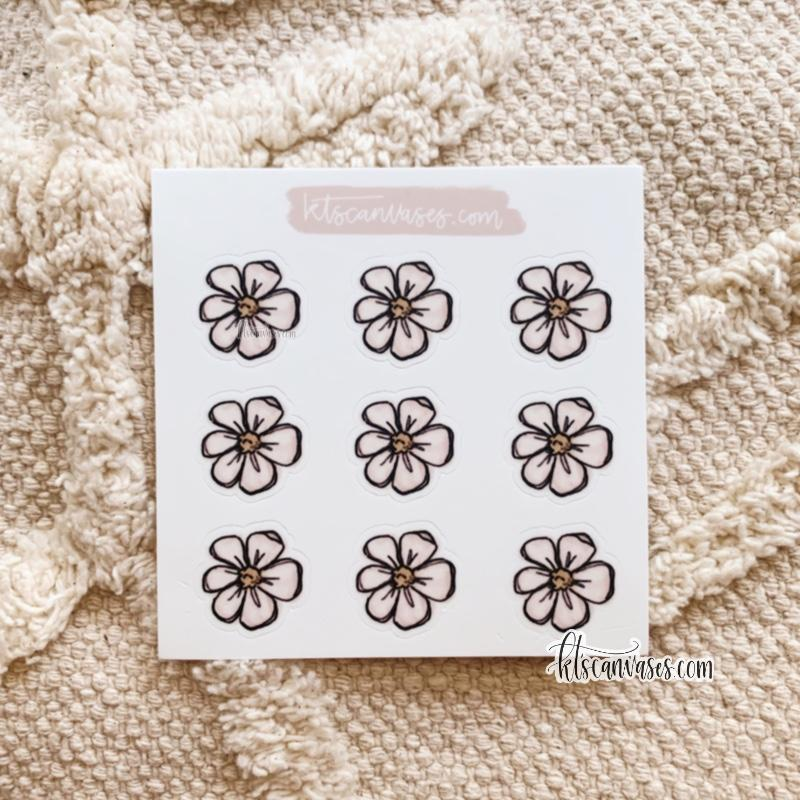 Floral Set of 9 Mini Stickers (1 sheet)